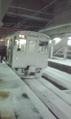 秋田の雪でコーティングされてる電車