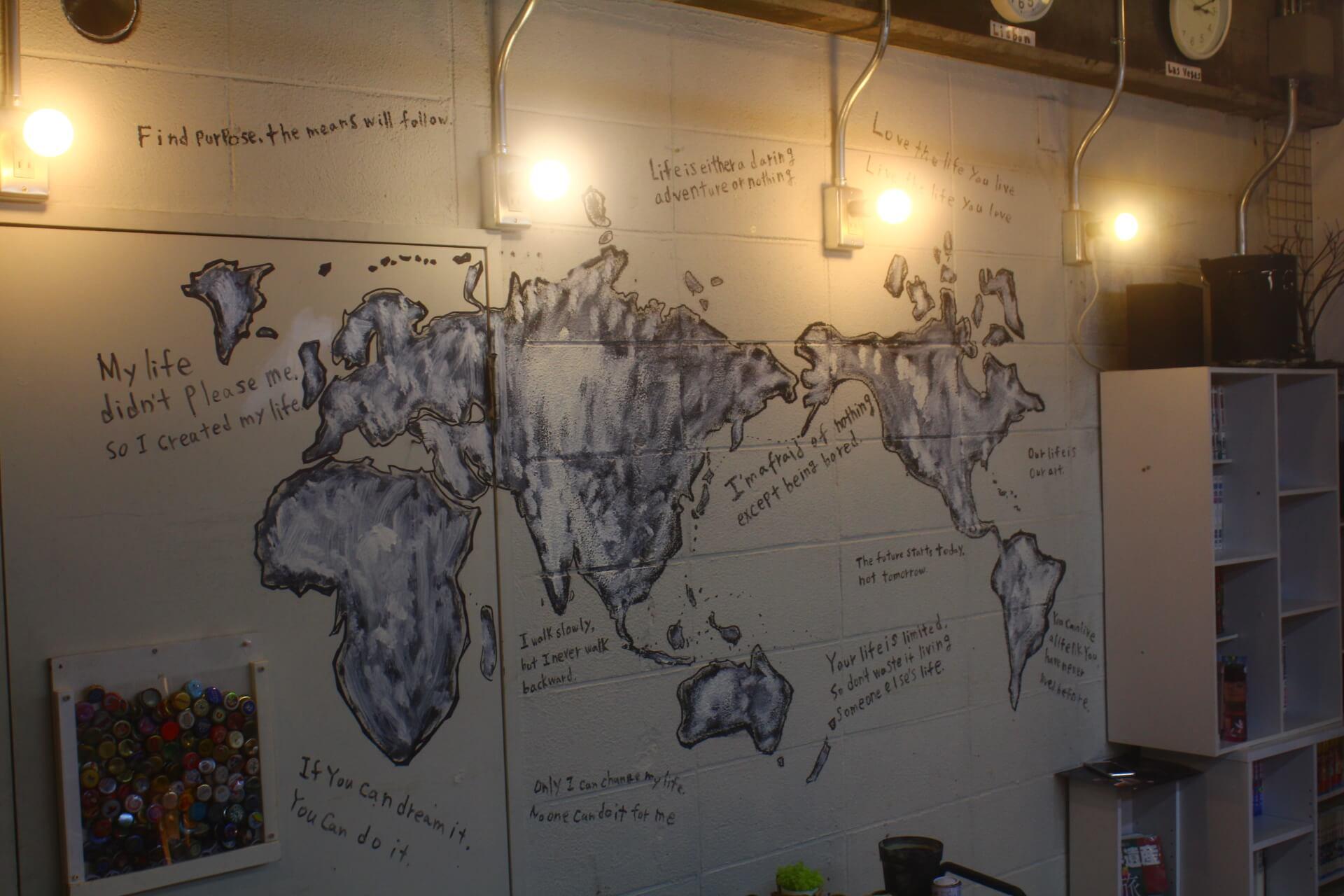 世界地図がある美容室